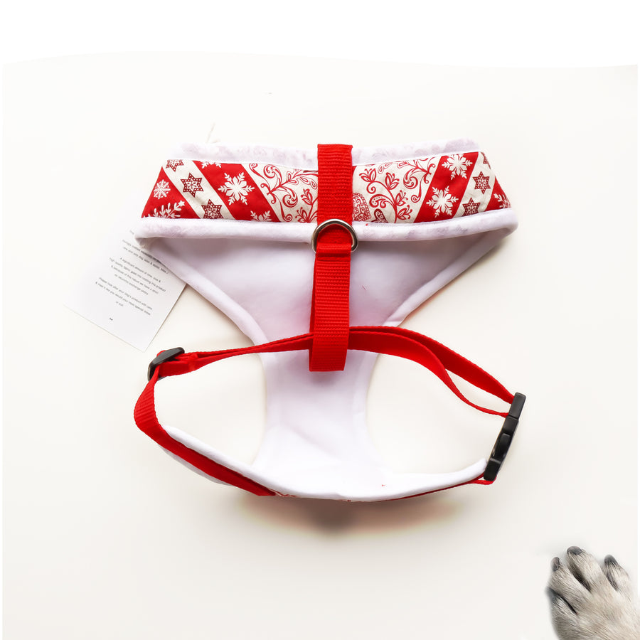 The Aima - Hand-made, Nordic Fair Isle print harness with red bow-tie, pocket and bone button – XS, S, M, L, XL & Custom