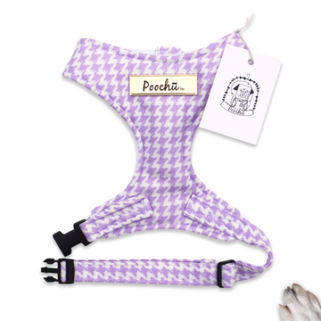 Lady Lulu - Hand-made, luxury lilac houndstooth style harness – XS, S, M, L, XL & Custom
