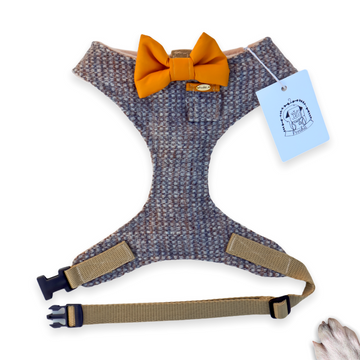 Sir Lewis - Hand-made, genuine Harris tweed harness with mustard bow-tie, pocket and gold Poochu button label – XS, S, M, L, XL & Custom