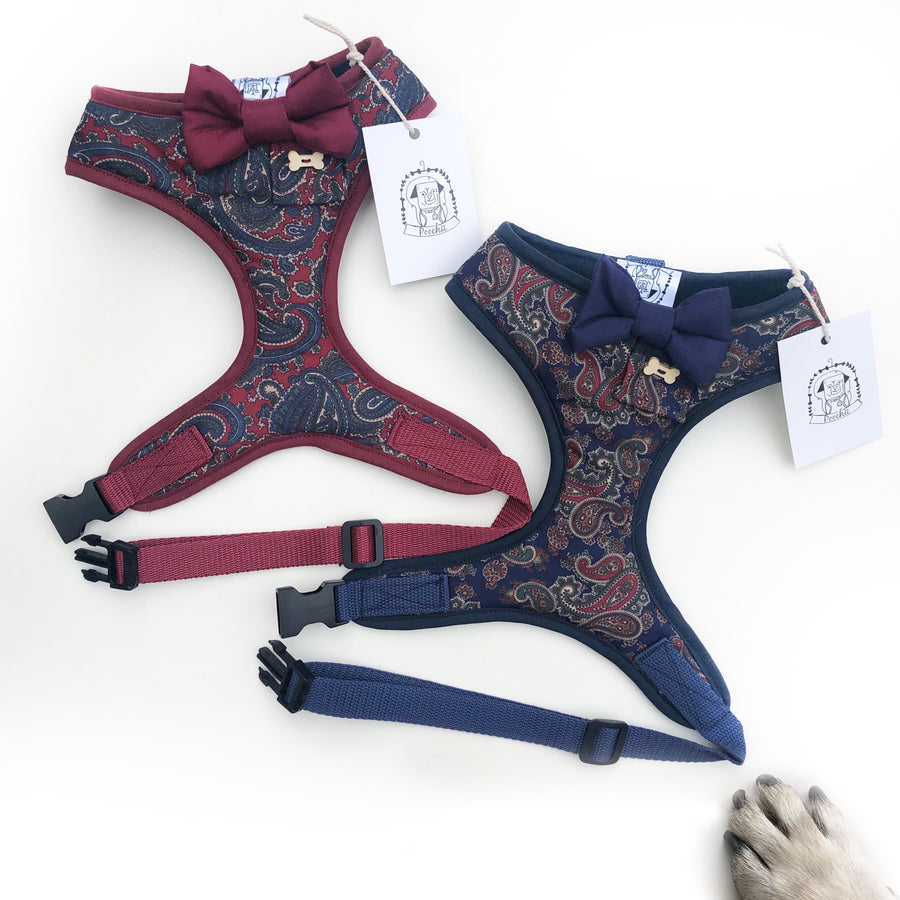 Sir Albert - Hand-made, navy paisley fabric harness with navy bow-tie, pocket and bone button – XS, S, M, L & Custom