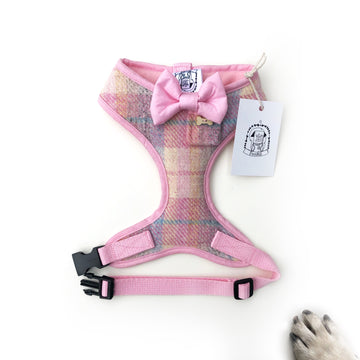 Lady Moira - Hand-made, Scottish tweed harness with baby pink bow, pocket and bone button – XS, S, M, L & Custom