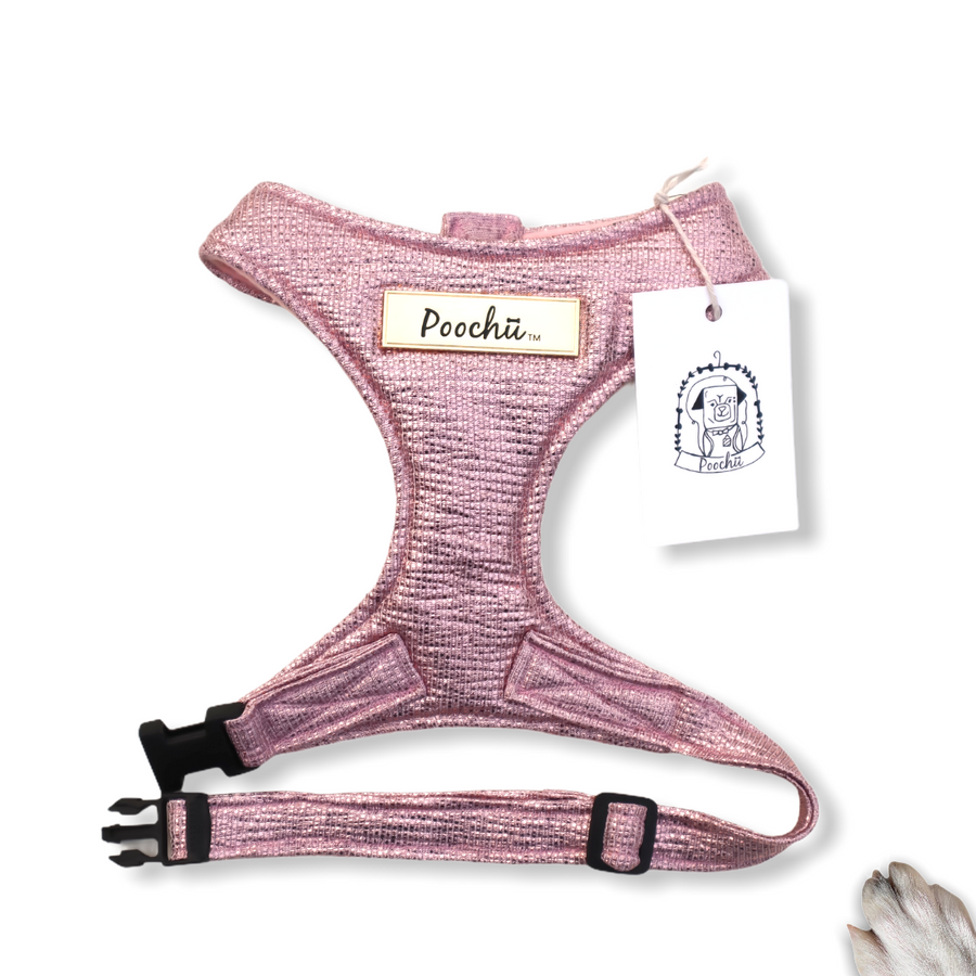 Lady Layla - Hand-made, luxury crushed pink sparkle harness with our gold Poochu signature logo tag & bow on back  – XS, S, M, L, XL & Custom