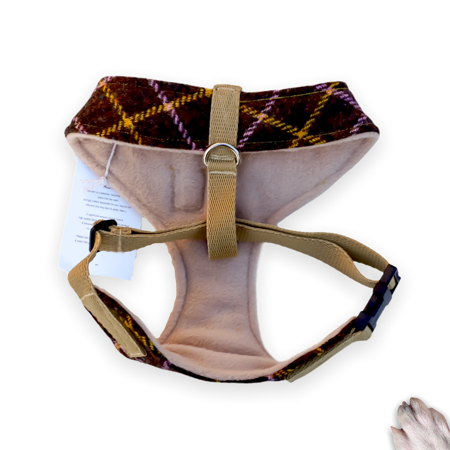Sir Fraser - Hand-made, genuine Harris tweed harness with mustard bow-tie, pocket and gold Poochu button label – XS, S, M, L, XL & Custom