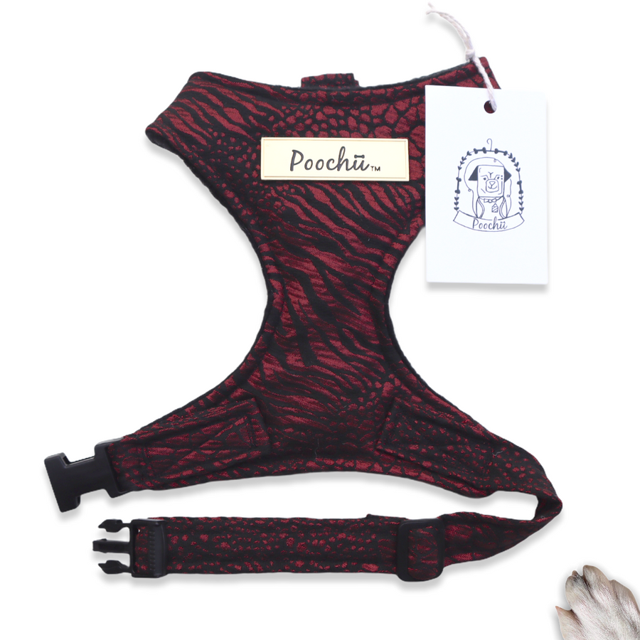 Lady Naomi - Hand-made, luxury burgundy foil animal print harness with our gold Poochu signature logo tag & bow on back  – XS, S, M, L, XL & Custom