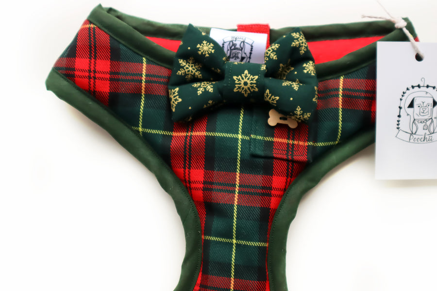 Sir Mackinnon - Hand-made, Scottish style tartan harness with green and gold snowflake bow-tie, pocket and bone button – XS, S, M, L, XL & Custom