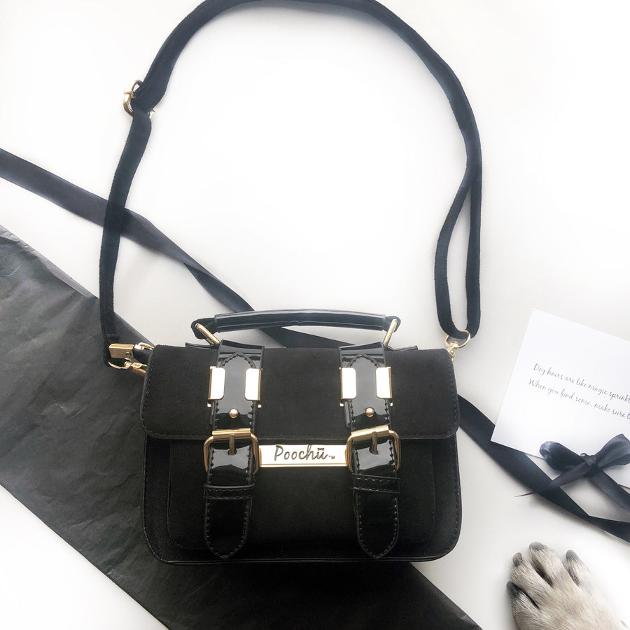 The Madison Black - Luxury, faux suede satchel bag with gold signature logo tag