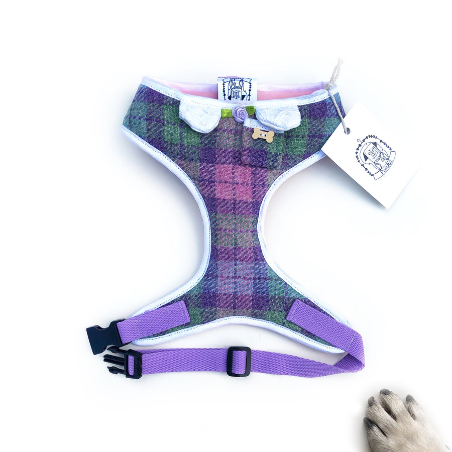 Lady Meghan - Hand-made, Scottish tweed harness with pixie collar, pocket and bone button – XS, S, M, L & Custom