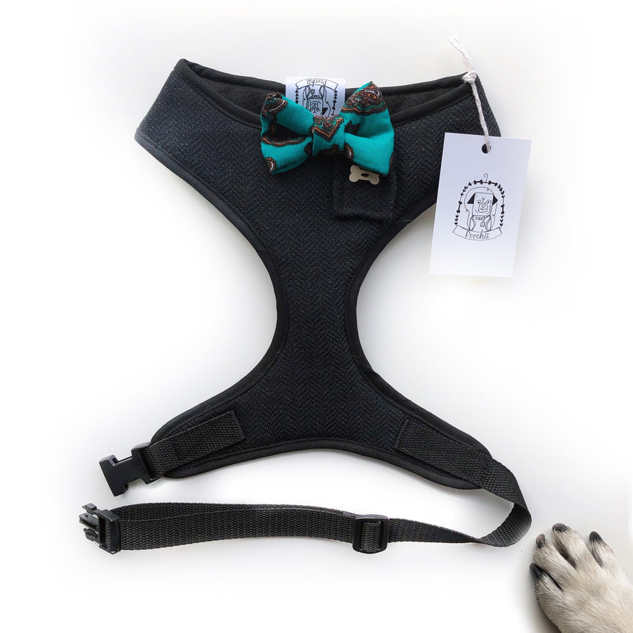 Sir Montgomery - Hand-made, herringbone suit harness with paisley bow-tie, pocket and bone button – XS, S, M, L & Custom