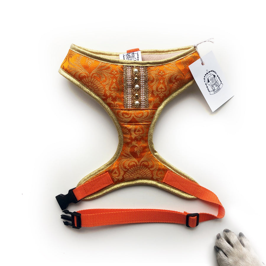 Indian Summer - Orange Bollywood style harness with luxury Indian fabric - XS, S, M, L, XL & Custom