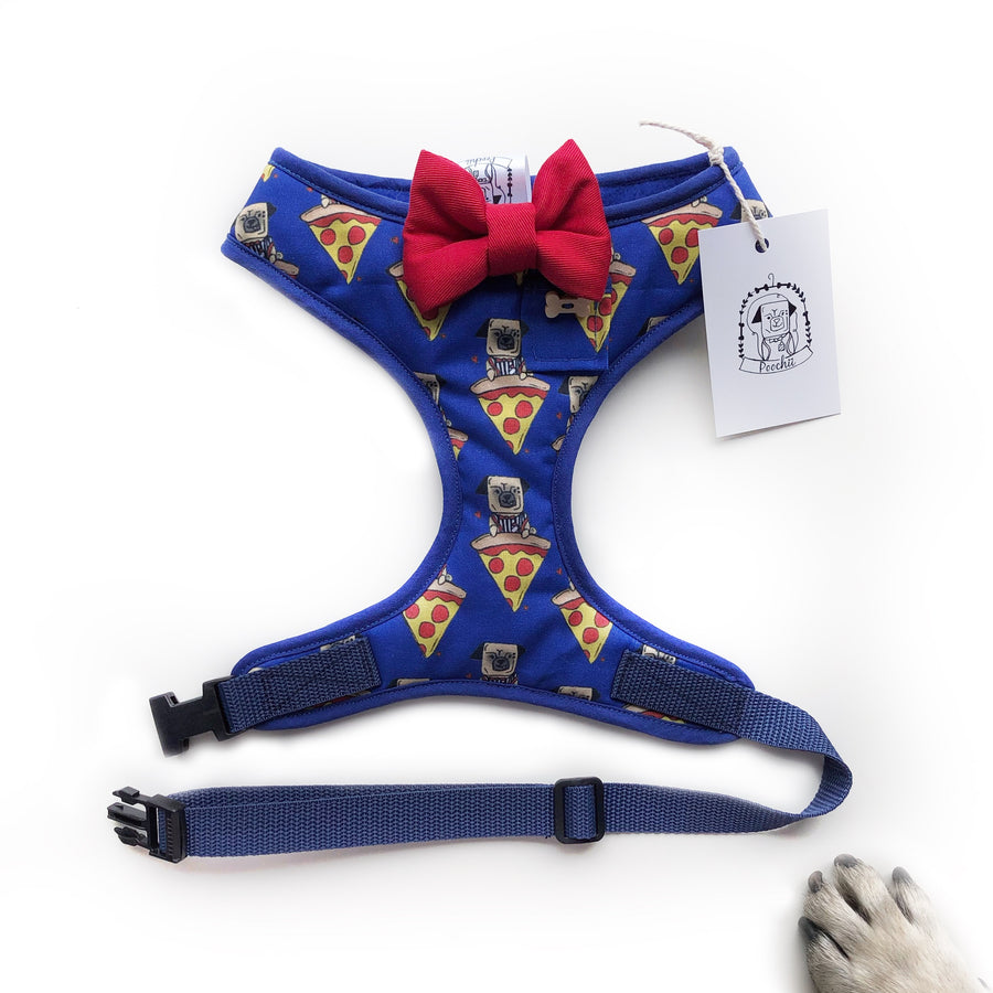 Pizza Pug - Hand-made, pizza pug print harness with red bow-tie, pocket and bone button – XS, S, M, L & Custom