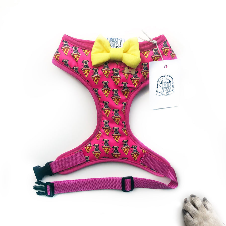 Pizza Pug Girls - Hand-made, pizza pug print harness with yellow bow-tie, pocket and bone button – XS, S, M, L & Custom