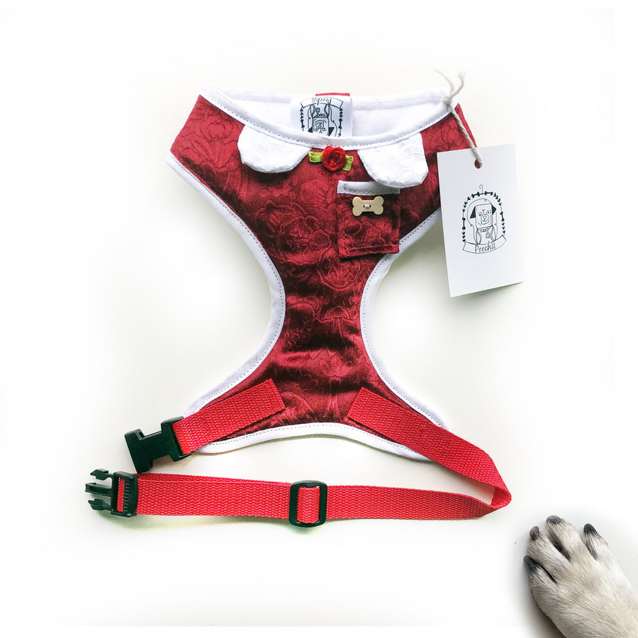 Little Red - Hand-made, red velvet harness with pocket and bone button – XS, S, M, L, XL & Custom