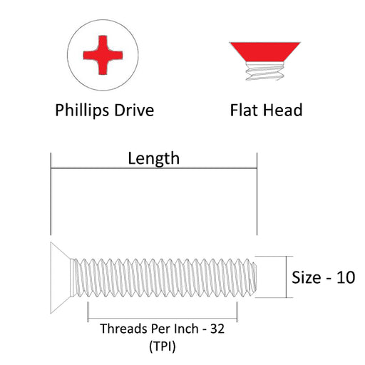 "10-32 Machine Screw, 3/8"" - 5"", #2 Phillips Drive, Flat Head, 316 Stainless Steel, Marine Grade"
