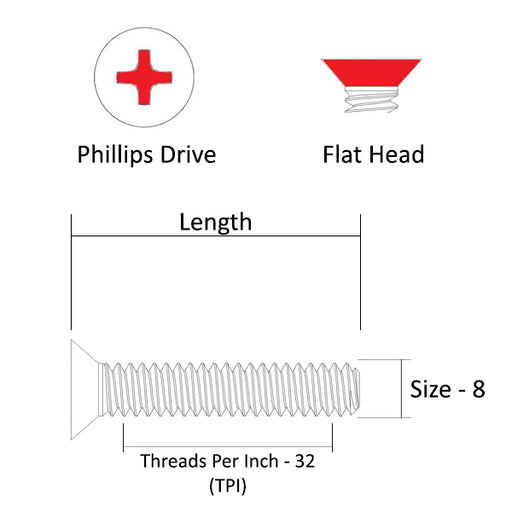 "8-32 Machine Screw, 1/4"" - 4"", #2 Phillips Drive, Flat Head, 316 Stainless Steel, Marine Grade"