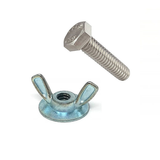 "1/4""-20 X 1"", 1-1/2"", or 2"" 304 / 18-8 Stainless Steel Hurricane Track Bolt Kit with Washer Based Wing Nuts"