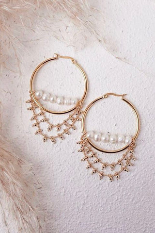 Jenna Pearl Hoop Earrings