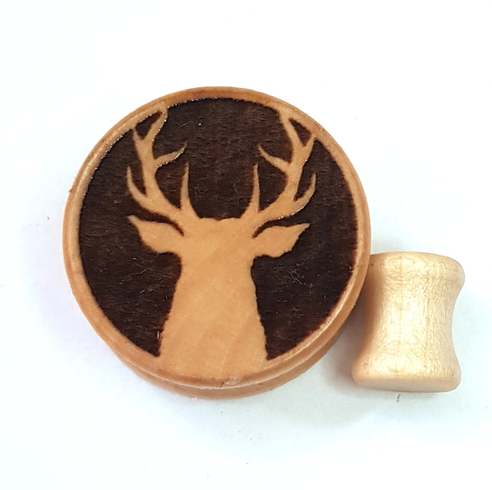 Stag Engraved Wooden Plug
