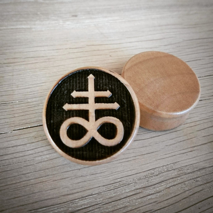 Satanic Cross Engraved Wooden Plug