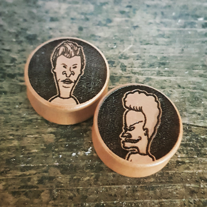 Beavis & Butthead Engraved Wooden Plugs