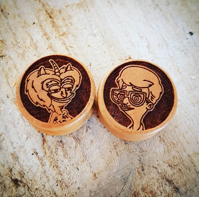 Big Mouth Andrew & Maurice Engraved Wooden Plugs