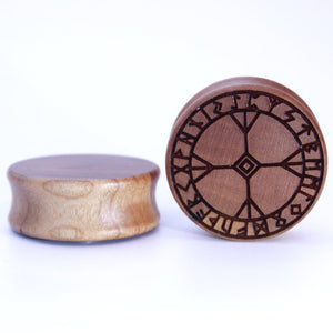 Algiz Rune Viking Engraved Wooden Plug