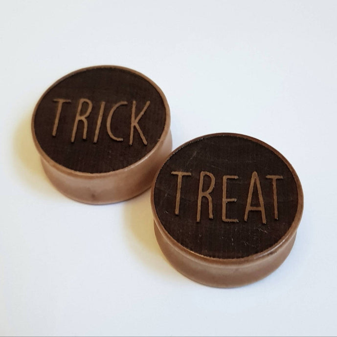 Trick or Treat Halloween Engraved Wooden Plugs