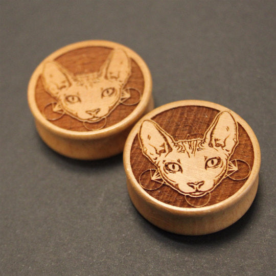Sphynx Cat Engraved Wooden Plug