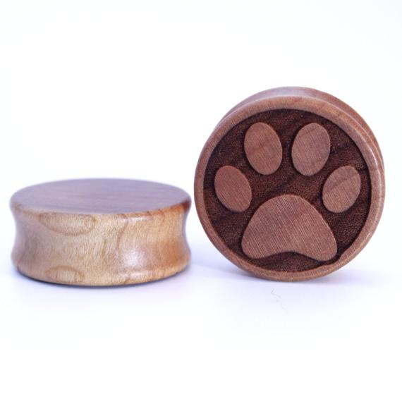 Paw Print Engraved Wooden Plug