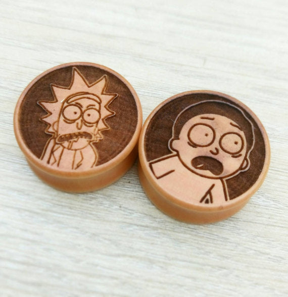 Pair of Rick and Morty Engraved Wooden Plugs