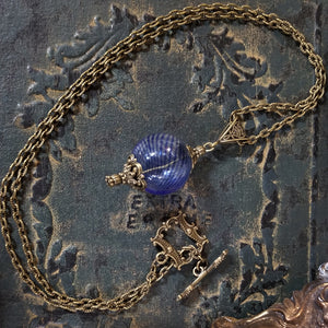 Blue Witch's Ball Pendant, Witch's Talisman Necklace, Witch's Amulet