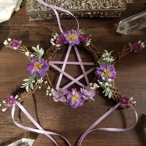 Triple Moon pentacle Wreath in Purple