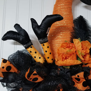 Witch Hat Samhain Door Wreath, Witch Legs Door Hanger