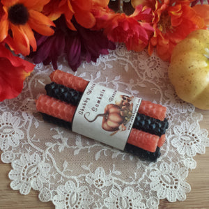 Samhain Black and Orange candles Beeswax Intention Candles