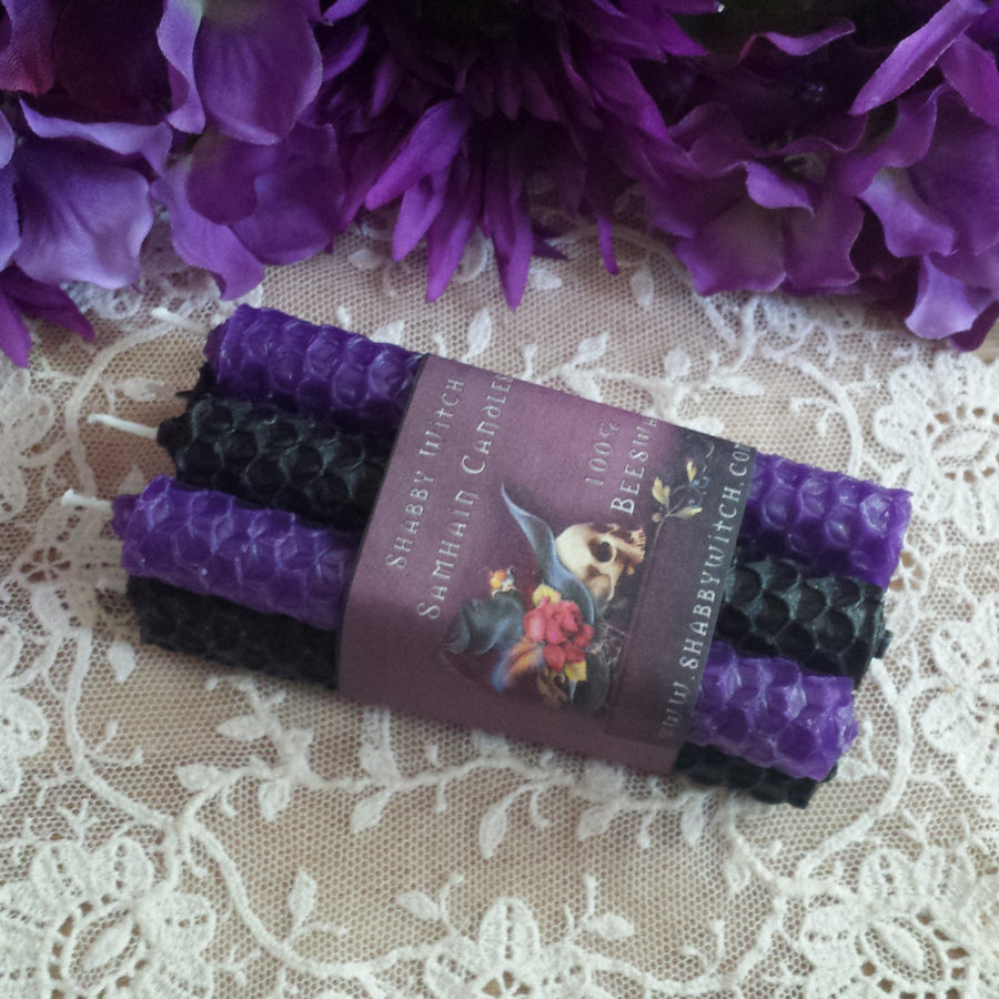 Samhain Black and purple candles Beeswax Intention Candles