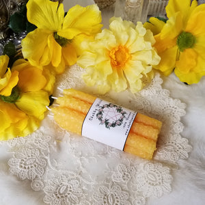 6 Yellow Beeswax Intention Candles
