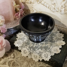 Black Floral Soapstone Carved Bowl