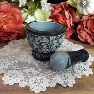 Black Carved Soapstone Mortar & Pestle