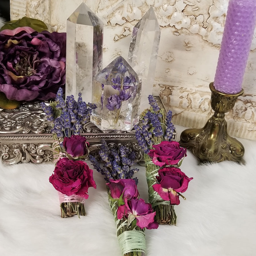 Cedar, Lavender and Rose Floral Smuding Bundle