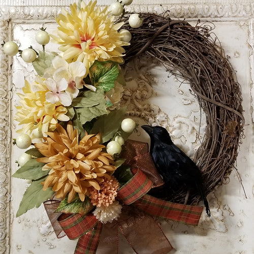 Crow Wreath, Grapevine Raven Wreath, Lammas, Mabon, Autumn Wreath