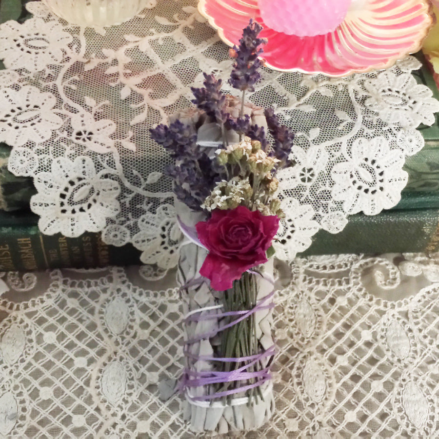 White Sage, Lavender, Rose and Yarrow Floral Smuding Bundle