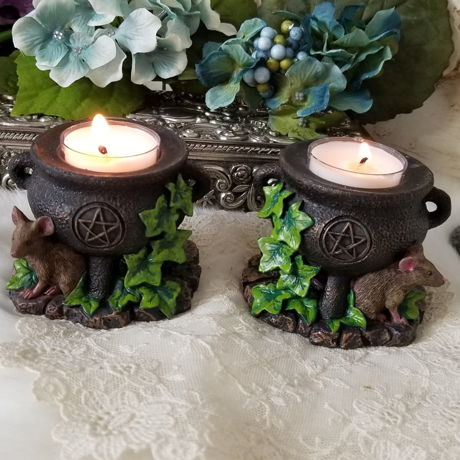 Mouse and Cauldron Tealight Holders