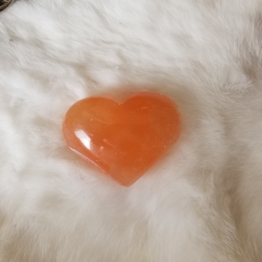 Selenite Puff Heart Orange Large