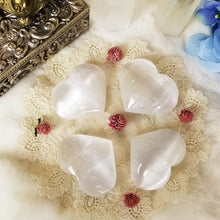 Selenite Puff Heart White Large