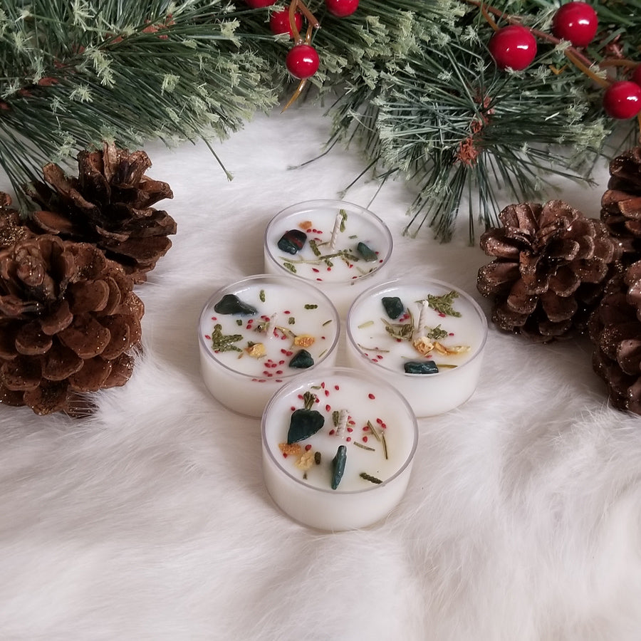 4 Yule Mistletoe & Bloodstone Tea lights
