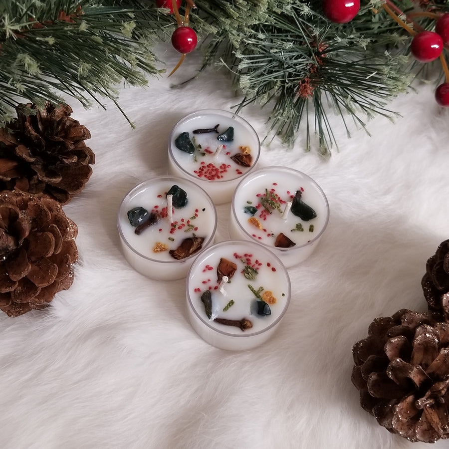 4 Yule Wassail & Bloodstone Tea lights