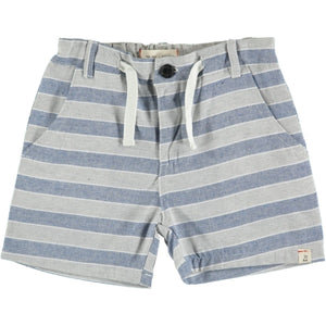 Beige and Blue Striped Woven Shorts