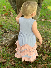 Load image into Gallery viewer, Gray and Pink Ruffle Layered Sleeveless Dress