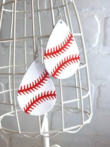 Baseball Babe Faux Leather Earrings