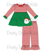Load image into Gallery viewer, Embroidered Santa Sibling Sets