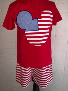 Mickey red white and blue outfit